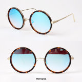 New Women Fashion Round Sunglasses with Metal Temple