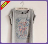 Fashion Sexy Cotton Printed T-Shirt for Women (W284)