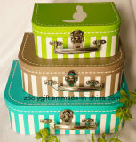 Stripe Design Printing Paper Suitcase Boxes Set of 3