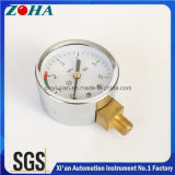 Steel Case Air Pressure Gauges Dial with Green Red Scalse for Caution 6MPa 2.5% Accuracy