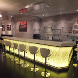 Modern Style Bar Furniture Marble Stone Coffee Shop LED Cafe Commercial Restaurant Bar Counter for Sale