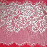 off-White Flowery Pattern Net Eyelash Lace Fabric by The Yard Wholesale