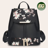 New Arrival Durable PU with Digital Printing Flowers Backpack Simple Style School Bags for Girls Sy8198