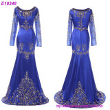 Europe Navy Blue Color Splice Sexy Patterns of Long Lace Evening Dress