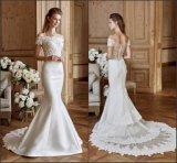 Short Sleeves Bridal Gowns Lace Mermaid Wedding Dresses Nh84