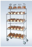 5 Tiers Chrome Metal Wire Bread Display Trolley Rack