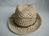 100% Paper Hand Woven Fedora Straw Hat