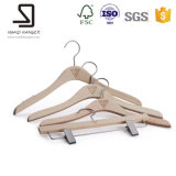 Top and Pant Wood Hanger with Anti-Slip