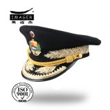 Genuine Leather Military Marshal Cap with Logo Embroidery