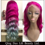 Hot Selling 2017 New Arrival Unique Style Ombre Color Brazilian Human Hair Cheap Lace Front Wig with Baby Hair