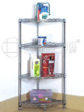 4 Tiers Metal Chrome Bathroom Corner Wire Rack with Fan-Shaped Style
