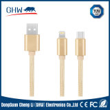 2 in 1 Nylon Insulated USB Charging and Data Power Cable for Mi, Samsung, iPhone