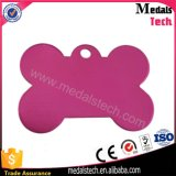 Pink Anodied Bone Shape Dog Tag Pet Tag with Laser ID Number