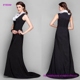 Elegant Petite Sheath Column Evening Dress Jewel Sweep Brush Train Stretch Satin with Ruffles