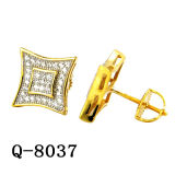 New Design 925 Silver Micro Pave CZ Men′s Earrings
