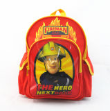 Lovely Fireman Print Student Bag Backpack for Kids