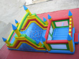 Low Price Four Colors Caste Inflatable Slide with Climbing Wall