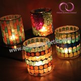 Ce Approved Decorative Mosaic Glass Candle Holder Candle Cup Home Decor Table Centerpiece