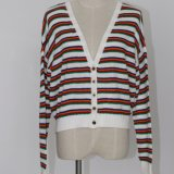 Ladies′ Colorful Striped Cardigan with Lose Version and Soft Handfeel, in Low Percent Duty