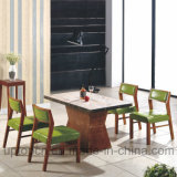 Wooden Restaurant Furniture Set with Green Leather Chair and Rectangle Table (SP-CT686)