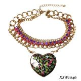 Satin and Chain Braided Big Heart Pendant Necklace (XJW1046)