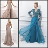 Long Sleeves Evening Dresses A-Line Boat Pageant Prom Formal Dresses T214361