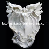 Modern White Marble Stone Angel Carved Sculptures for Garden/Landscape