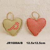 En71 Vintage Shabby Fabric Heart Hanging Decoration