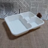 Cornstarch Products Biodegradable Disposable Paper Tray Three Compartment