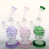 Wholesale 10inch Tall Matrix Skull Recycler Perc Glass Smoking Water Pipe with Great Colors