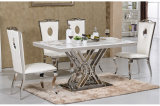 Modern Stainless Steel Rectangle Marble Crose Base Dining Table for 8 People Chairs
