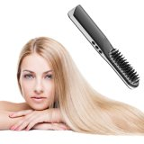 2 in 1 USB Wireless Mini Hair Straightener Brush Battery Portable Electrical Straightening Iron Comb Brushes