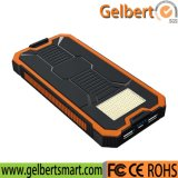 10000mAh Emergency Lights Waterproof RoHS Solar Cell Phone Charger Power Bank
