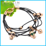 Leather Chain Skull Charm Bracelet #31462