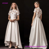 New Modern Style Illusion Jewel Sweetheart Neckline Short Sleeves Heavily Embellished Romantic A Line Wedding Dress with Sweep Train