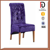 Metal Frame Imitated Wood Grain Finished Blue Velvet Fabric Chair with Button Design