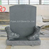 European Grey Granite Tombstones with Shoes Carving Design