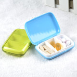 3 Compartments Plastic Colorful Travel Pill Box with Cover