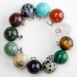 Assorted Natural Gem Stone Ball Charms Necklace Pendants