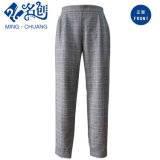 Gray Plaid Fashion Trousers with Rubber String
