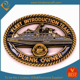 Custom Navy Boat Shape Antique Gold Finished Coins