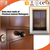 China Latest Design Wooden Single Main Hinged Door, Trendy and Retro Wood Hinged Door From Chinese Brand