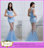 Gorgeous Custom Made One Shoulder Sky Blue Tulle Appliques Mermaid Sexy See Through Corset Prom Dress (SR48)