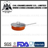 Customized Color Logo Decal Porcelain Carbon Steel Fry Pan