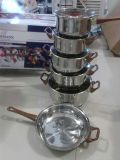 Stainless Steel Cookware Set with Plastic Wood Color Handle