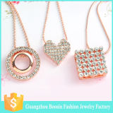 2016 Boosin Trendy Rose Gold Plated Gemstone Heart Pendant Necklace