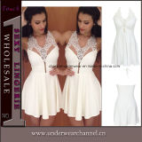 White Party Formal Prom Women Sleeveless Short Cocktail Dress (T22153)