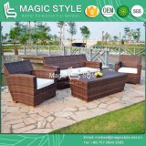 Patio Rattan Sofa Set with Teak Outdoor Wicker Sofa Set Modern Garden Sofa Set (Magic style)