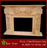 Popular Elegant Rose Decor Marble Fireplace (NS-1201)