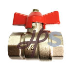 Plated Nickel Brass Full Port Ball Valve with Butterfly Handle